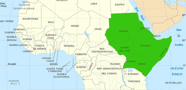Cuerno De Africa Mapa.Que Paises Integran El Cuerno De Africa Saberia