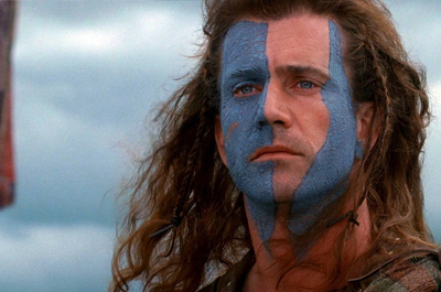 Mel Gibson como William Wallace en Braveheart