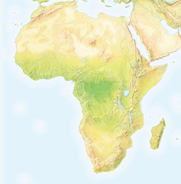 Mapa de montes de África mudo - Saberia