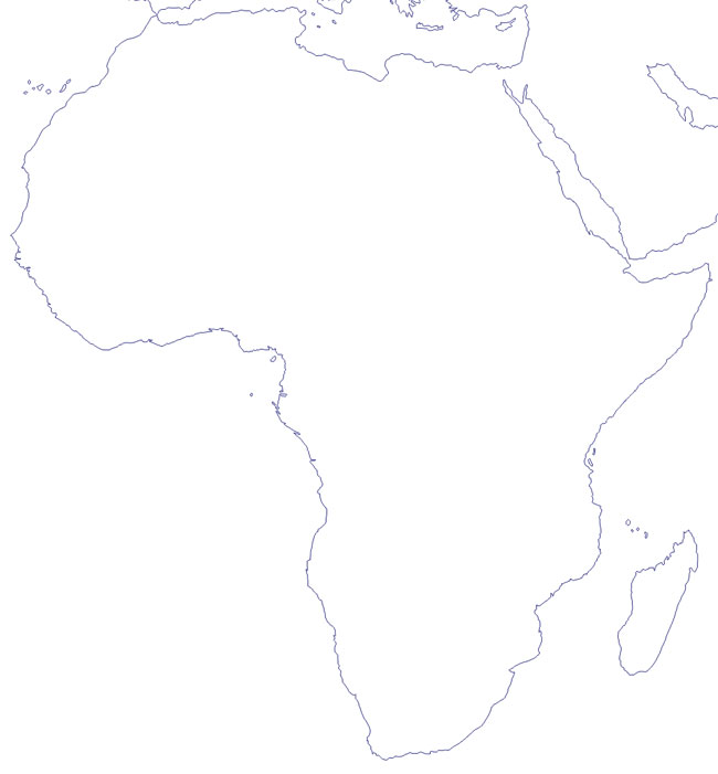 Mapa del contorno de África - Saberia