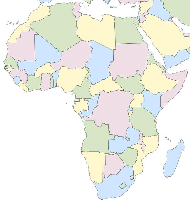 Mapa político de África mudo - Saberia