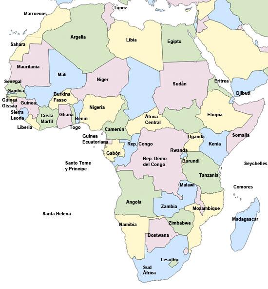 Mapa político de África - Saberia
