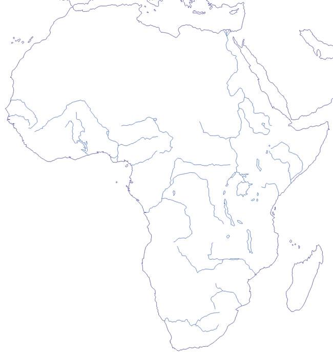 Mapa de ríos de África mudo - Saberia