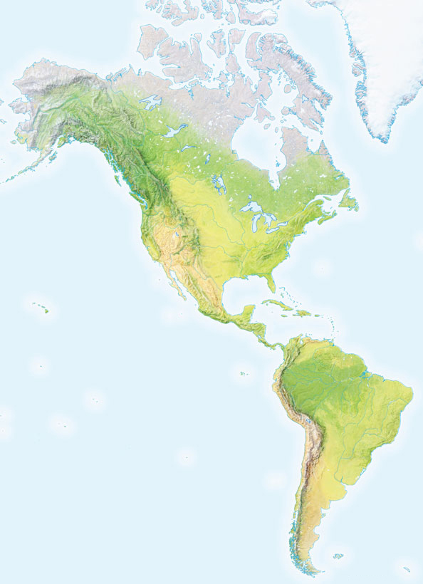 Mapa de montes de America mudo - Saberia