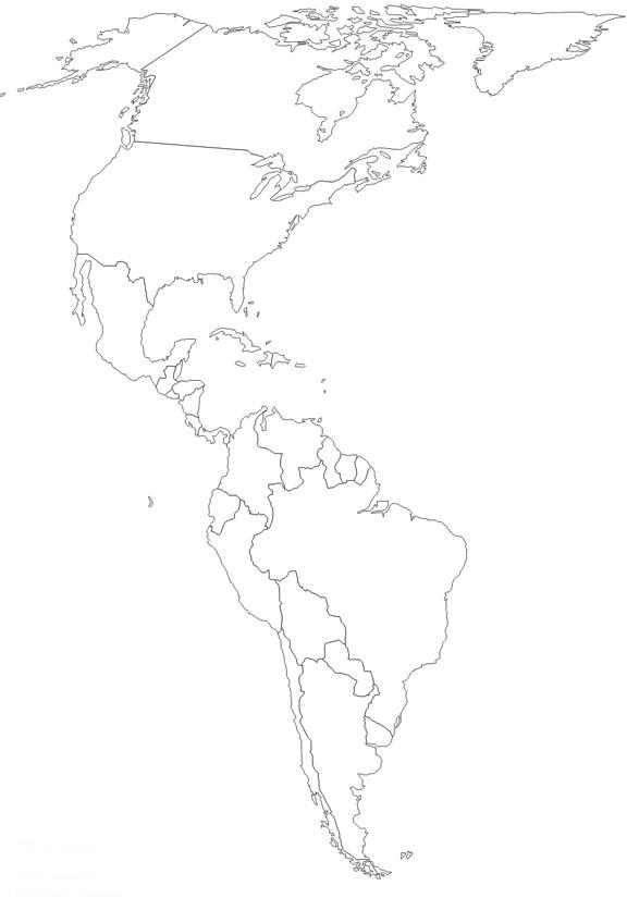 Mapa del contorno de America - Saberia