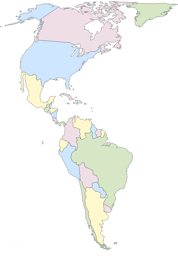 Mapa politico de America mudo - Saberia