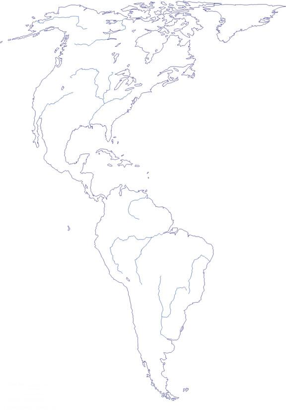 Mapa de ríos de America mudo - Saberia