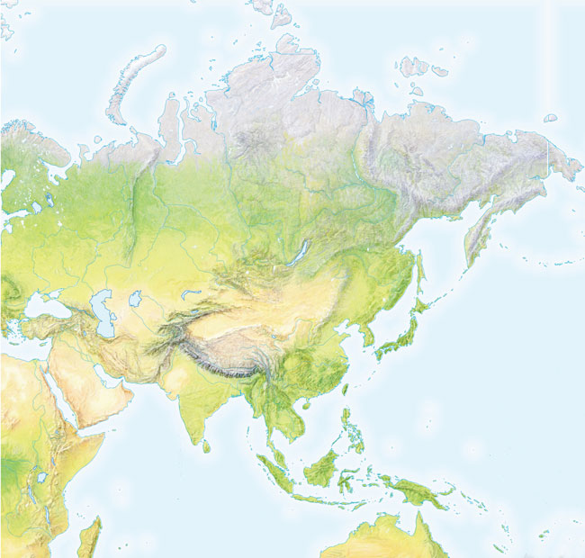 Mapa de montes de Asia mudo - Saberia