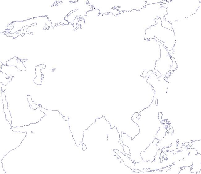 Mapa del contorno de Asia - Saberia