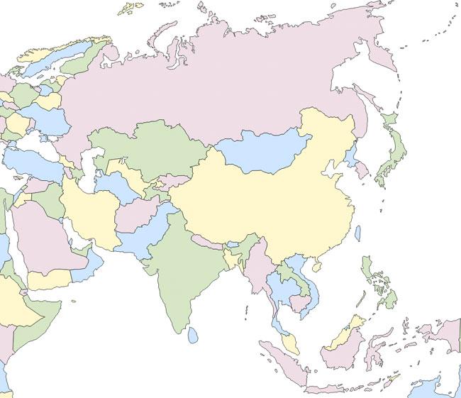 Mapa político de Asia mudo - Saberia