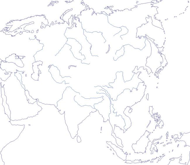 Mapa de ríos de Asia mudo - Saberia