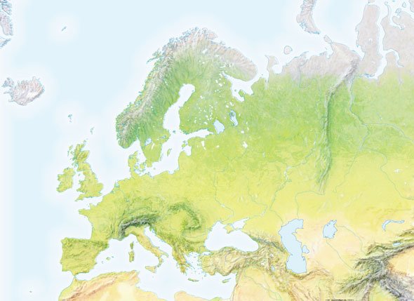 Mapa de montes de Europa mudo - Saberia