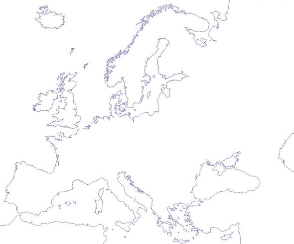 Mapa del contorno de Europa - Saberia