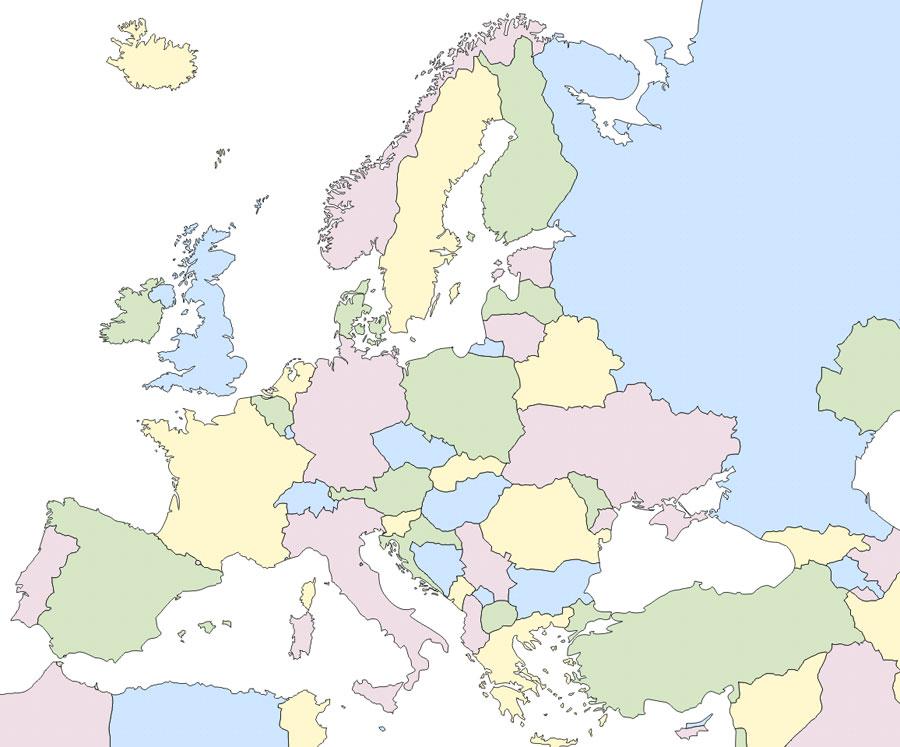Mapa político de Europa mudo - Saberia