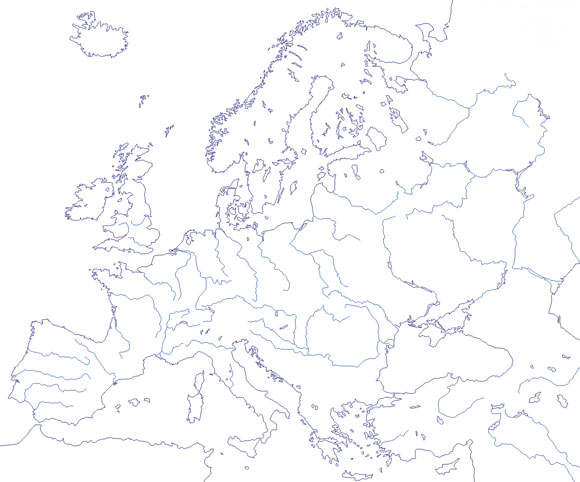 Mapa de ríos de Europa mudo - Saberia