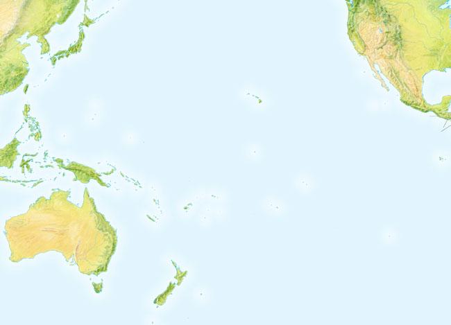 Mapa de montes de Oceanía mudo - Saberia