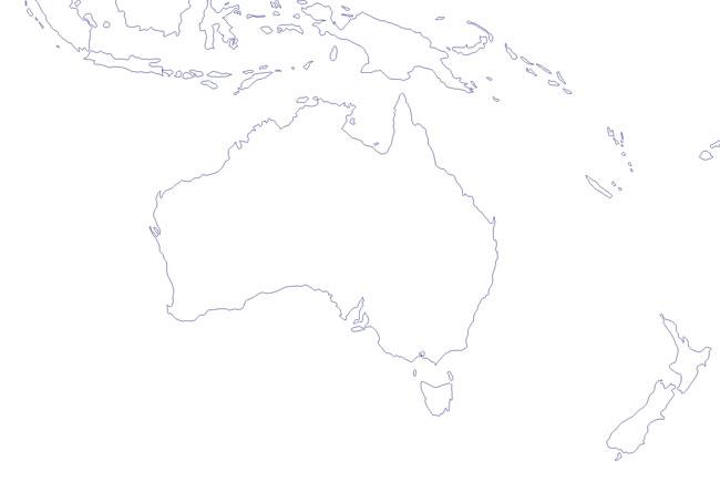Mapa del contorno de Oceanía - Saberia