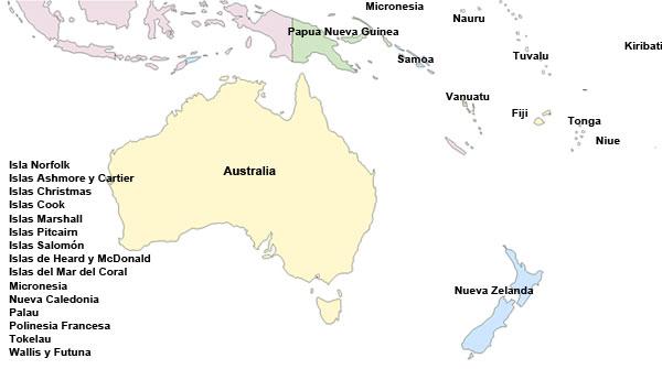 Mapa político de Oceanía - Saberia