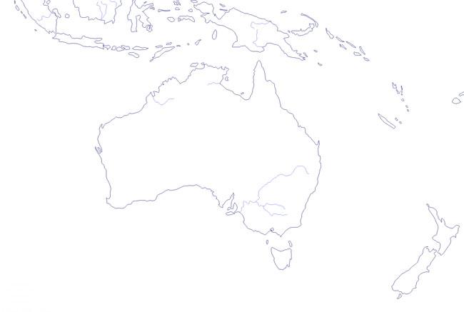 Mapa de ríos de Oceanía mudo - Saberia