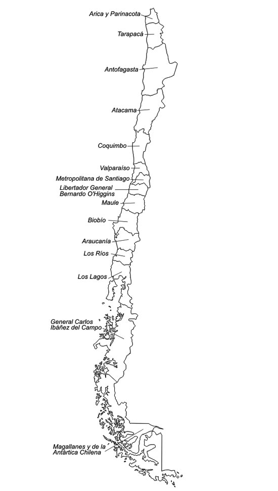 Mapa poltico de chile saberia imprimir mapa poltico de chile mapa din a4 sciox Choice Image