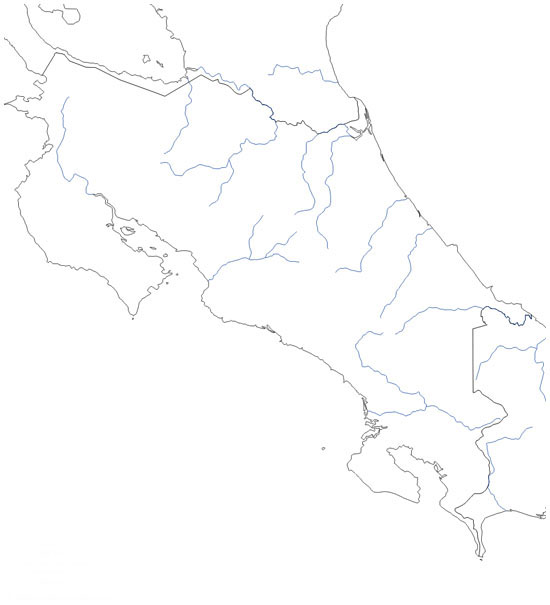 Mapa poltico de Costa Rica mudo  Saberia