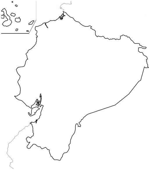 Mapa del contorno de Ecuador - Saberia