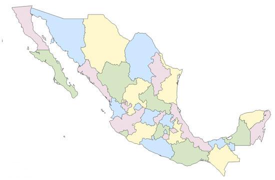 Mapa Político De México Mudo Saberia - Mapa de mexico