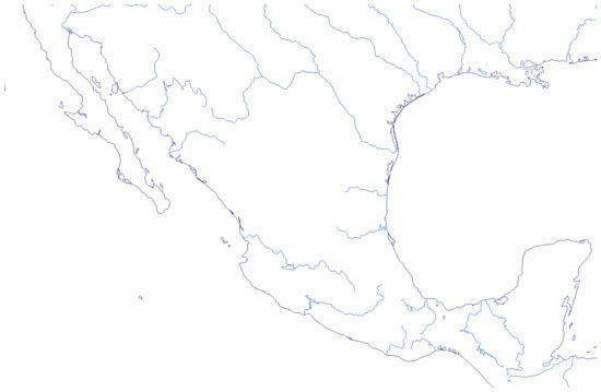 Mapa de ros de Mxico mudo  Saberia